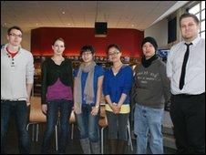 Winning 1412 beer team at Glyndwr University, Wrexham