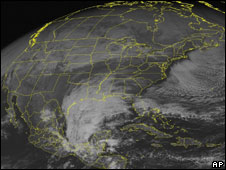 Satellite image dated 17 December showing the approaching storm