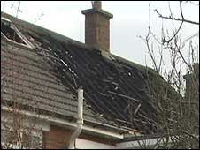burnt roof of house