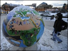 Sculpture of a globe in Copenhagen, Denmark
