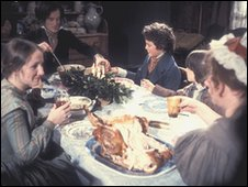A Victorian family eating Christmas dinner