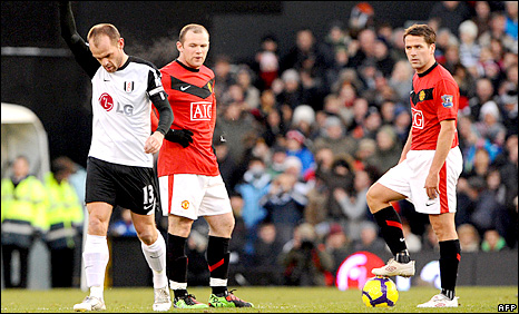 Fulham midfielder Danny Murphy and Manchester United strikers Wayne Rooney and Michael Owen