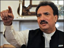 Pakistani Interior Minister Rehman Malik in Karachi  on 7 December 2009