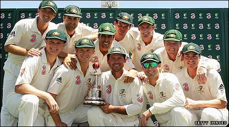 Ricky Ponting holds the series trophy