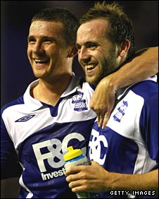 Barry Ferguson and James McFadden celebrate with Birmingham