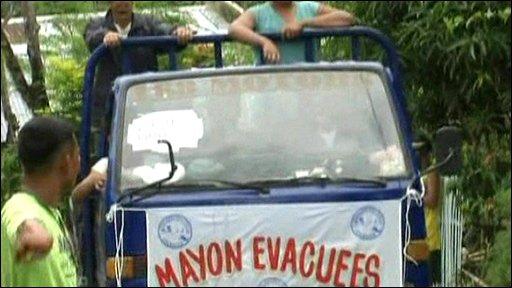 Evacuees fleeing Mount Mayon