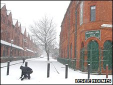 Snow outside Salford Lads Club