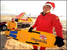 (L-r) RNLI Boscombe Reef lifeguards Justin White and Michael Winter on Boscombe beach/Barry Batchelor/PA Wire