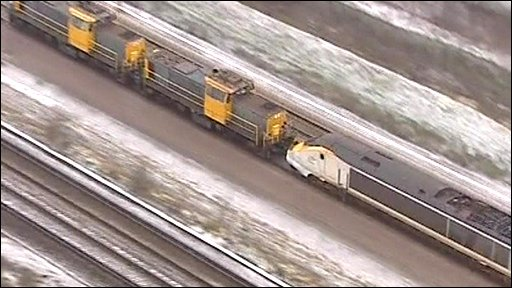 Eurostar train being towed out of tunnel