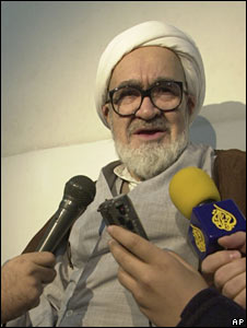 Grand Ayatollah Hoseyn Ali Montazeri talks to the media during his house arrest in 2003