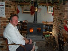 Wood-burning stove in the White Lion, Ufford, Suffolk