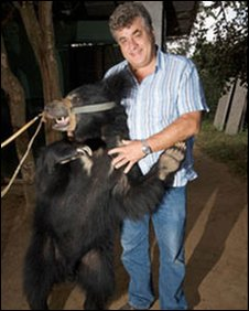 Alan Knight with the last rescued dancing bear, Raju