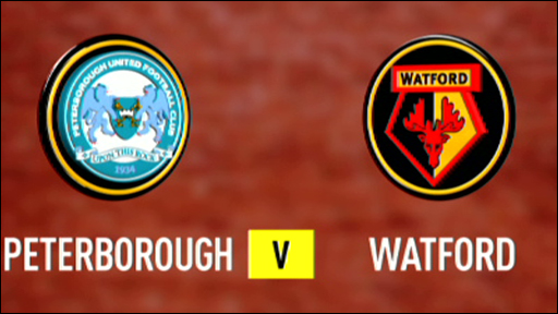 Graphic of Peterborough and Watford club badges