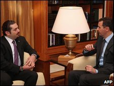 Saad Hariri (L) and Bashar al-Assad in Damascus, 20 December