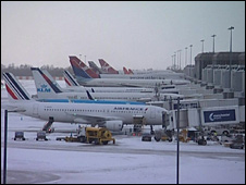Grounded aircraft at Manchester Airport