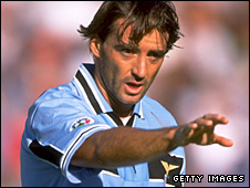 Roberto Mancini playing for Lazio