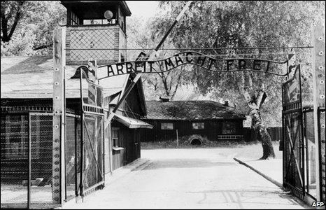 The sign at the main entry to Auschwitz just after the liberation in 1945 