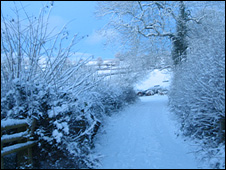 Snow scene near Abergavenny