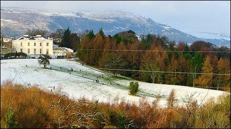 Snow at Minnowburn in south Belfast