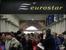Delayed Eurostar passengers at St Pancras on Sunday