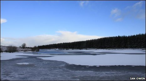 Frozen lake at Llandegla
