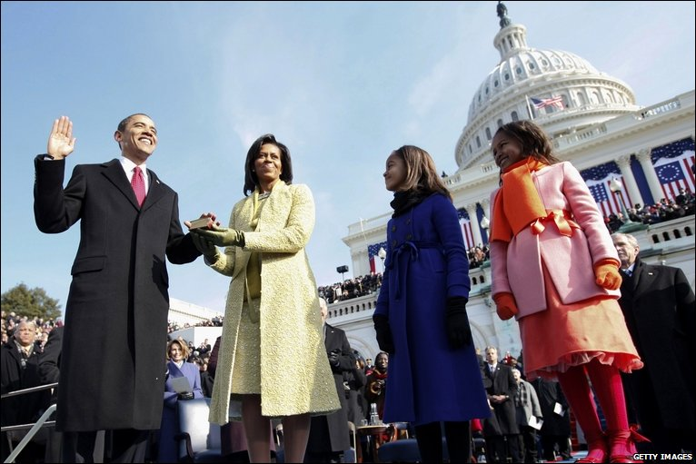 Barack Obama is sworn in as the 44th US president by Supreme Court Chief Justice John Roberts in front of the Capitol in Washington.