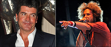 Simon Cowell (left) and Rage Against the Machine