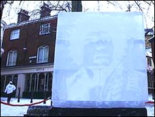 Jimi Hendrix ice sculpture