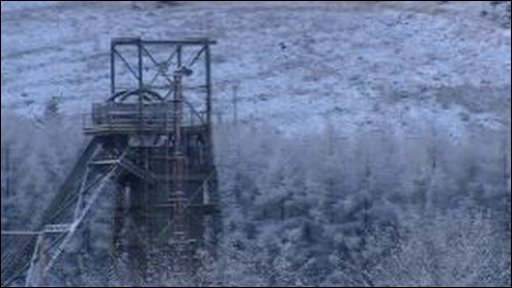 Colliery tower covered in snow