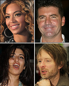 Beyonce, Simon Cowell, Thom Yorke, Amy Winehouse