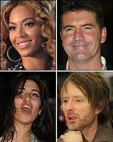 Beyonce, Simon Cowell, Thom Yorke, Amy Winehouse