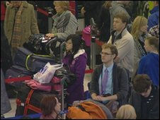 Queuing passengers at Manchester Airport