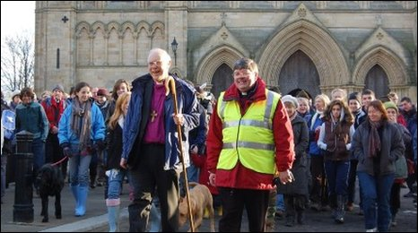 The Boxing Day pilgrimage leaves Ripon Cathedral