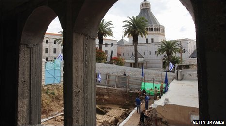Excavation in Nazareth with Church of the Annunciation behind, 21 December
