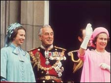 Lord Mountbatten with Princess Anne and the Queen
