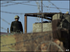 An Egyptian border outpost on the border with Gaza