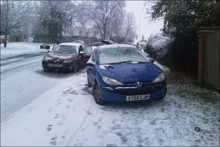 snow and cars