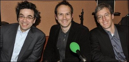 Stephen Dubner (L) Tim Harford (middle) and Steven Levitt (R)