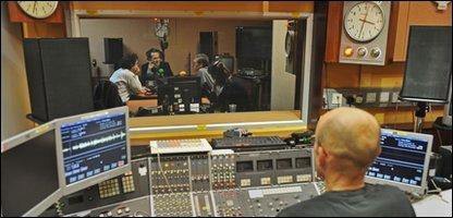 Stephen Dubner (L) Tim Harford (middle) and Steven Levitt (R) in the studio