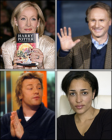 JK Rowling, Dan Brown, Zadie Smith, Jamie Oliver