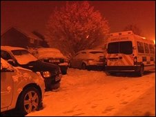 An ambulance left in the snow in Hampshire