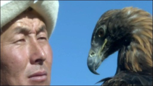 A man with a golden eagle