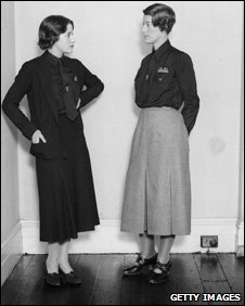 Mrs I M Swire - a leading figure in the British Union of Fascists - wearing the new uniform of grey skirt with black shirt
