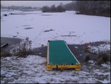 A frozen lake in Stoke-on-Trent