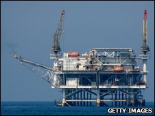 An offshore oil rig platform is seen in the Catalina Channel