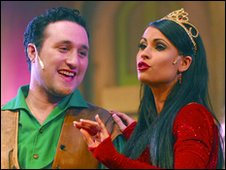 Antony Costa and Carina Gillespie in Jack & The Beanstalk at the Ipswich Regent