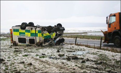 Ambulance on roof in Orkney