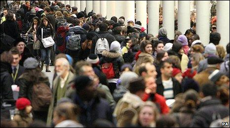 Passengers queue at St Pancras