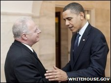 President Barack Obama greets his new White House Cyber Security Chief Howard A. Schmidt