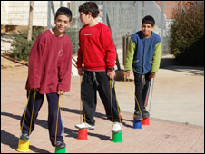 Children play in a school playground in Sderot